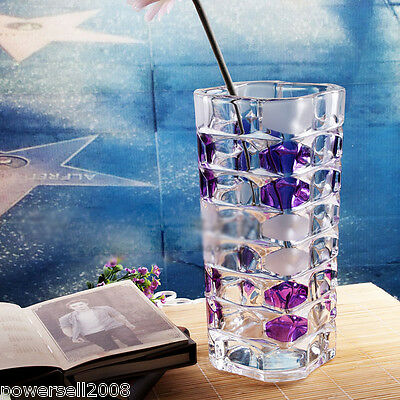 Fashion Transparent Crystal Glass Vase Dining-Table Household Office Usable NN