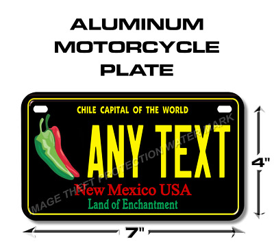 New Mexico Chile Capital Any Text Personalized State Motorcycle License Plate