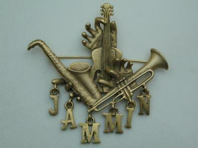 "Very Large Vintage""jammin"" Sax Trumpet Bass & Strings Musical Instrument Brooch;"