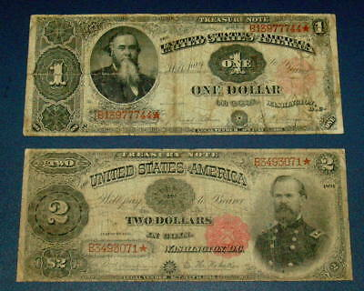 Two 1891 $1 One STANTON $2 Two Dollar McPHERSON Treasury STAR NOTE Legal Tender