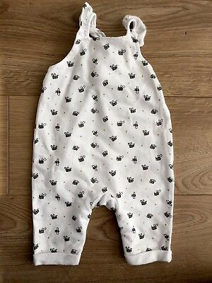 Mothercare My K Girl Dungarees All In One In bee White Size 0-3 Months