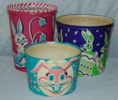 3 Vintage Easter Bunny Eggs Large Wax Grocers Cottage Cheese Containers Basket