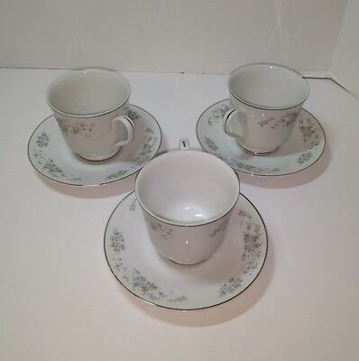 3 Cups & Saucers Carlton Japan Corsage 481 Floral Coffee Tea