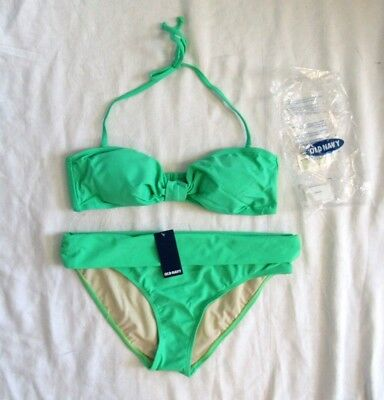 2 Pc Old Navy Green Extreme Bikini Bandeau Top L Roll Over Bottom M New
