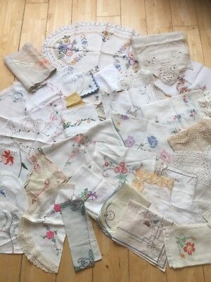 Job Lot Vintage Table Linen 49 Items Craft Projects,