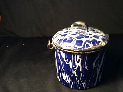 Granite Ware Cobalt And White Berry Pail With Lid