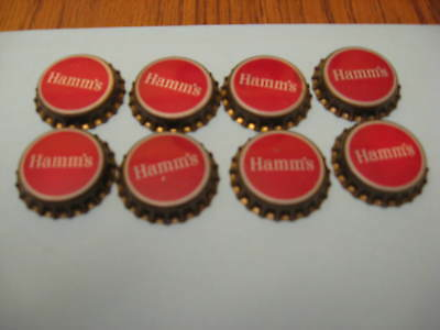 8 Hamm's Beer - CORK lined beer bottle caps - UNUSED! - Hamms Beer - Great Deal!