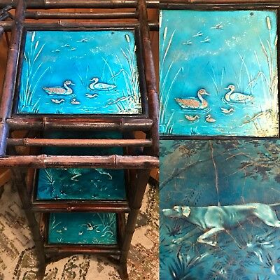 Antique Minton Tiles Victorian Bamboo Stand Aqua Teal Blue 1890 Stoke On Trent