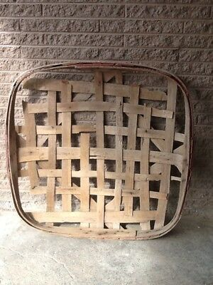 Antique Primitive Handmade Tobacco Baskets GROWERS WH ROGERSVILLE TENN Red Band