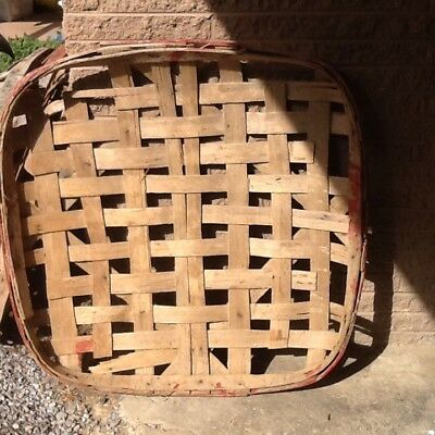 Antique Primitive Handmade Tobacco Baskets GROWERS WH Double Banded Red Band