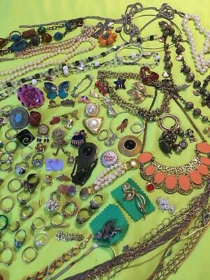 Huge Lot Of Rings, Pins Necklaces And More Vintage To Now