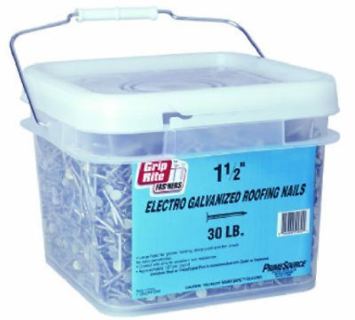 Grip-Rite 114EGRFGBK 1-1/4-Inch Electro-Galvanized Roofing Nails, 30-Pounds