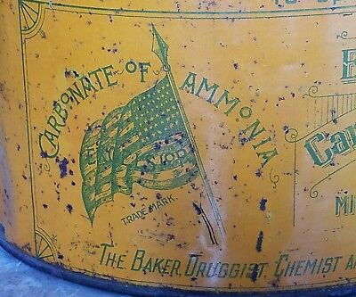 1800s EXCELSIOR MICHIGAN CARBONATE AMMONIA 5 pound LARGE CAN old tin lithograph