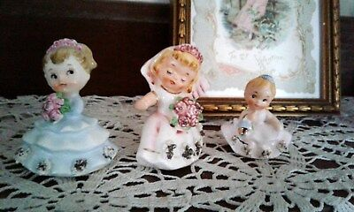 lot of bridesmaids  and bride ceramic figurines