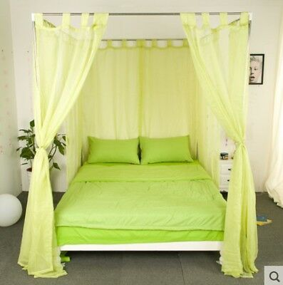Single Green Yarn Mosquito Net Bedding Four-Post Bed Canopy Curtain Netting#