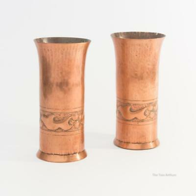 Matching Pair of KSIA Keswick School Arts and Crafts Copper Vases 11.5cm high