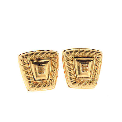 Vintage Givenchy Gold Tone Logo Clip On Earrings