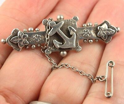 Antique Victorian HM 1893 sterling silver anchor sweetheart brooch pin