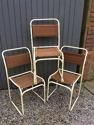 3 X Vintage Industrial  Metal Stacking Chairs School Stackable Seating