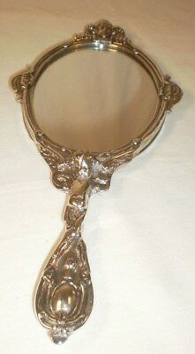 Beautiful Antique Silver Hand Held Mirror Engraved With Angels