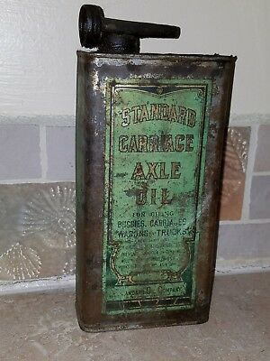 Rare 1920s STANDARD OIL CO. CARRIAGE AXLE OIL SPOUTED CAN old gas advertising