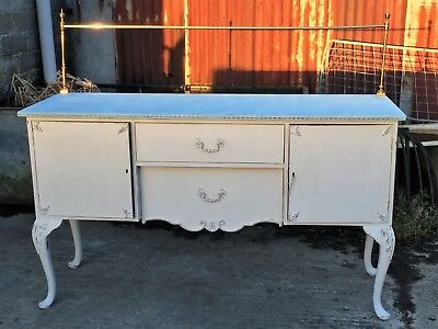 Shabby Chic Sideboard - Queen Anne style legs - Brass Rail - Bottle Drawer