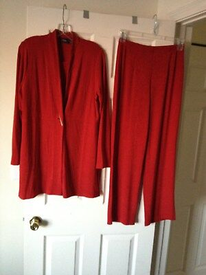 Chicos Travelers 3 pc Enamel Red Side Slit Jacket No Tummy Pants Tank Top Size 2
