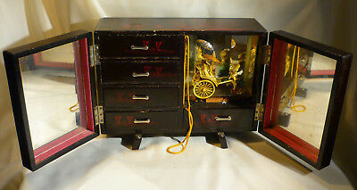 Vintage Japanese Animated Musical Jewellery Box Drawers Black Lacquer To Restore