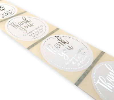 45Mm Custom Round Personalised Silver Foil Thank You Wedding Labels Stickers
