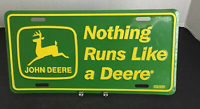 "John Deere Embossed Metal License Plate Tag ""Nothing Runs Like a Deere"""