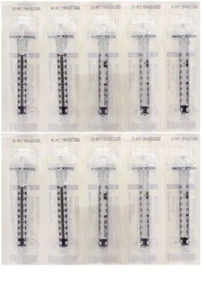 Lot of 10 BD Syringe 1mL Luer Lock Sterile 309628, in date, free ship, save!