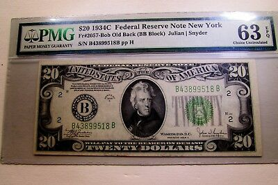 One United States 1934C Federal Reserve Twenty Dollar Note In Pmg Holder