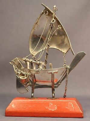 Superb Solid STERLING SILVER Antique Sailing BOAT Ship Model on Wooden Stand 44g