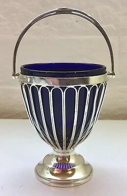 Solid Silver & Bristol Blue Lining Glass Sugar Basket Haseler Bill Chester 1920