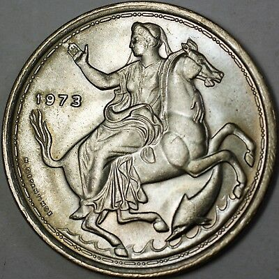 1973 Greece 20 Drachma Brilliant Uncirculated Goddess Selene Coin