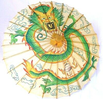 Rare Vintage Hand Painted Dragon Chinese Bamboo Rice Paper Ceremonial Umbrella