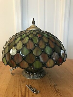 Vintage TIFFANY style LEADED / STAINED / SLAG GLASS Ceiling Lamp Chandelier