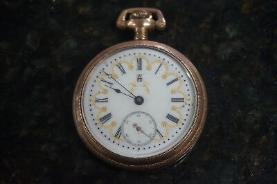 W CO Menlo Park 17J Gold Plated Pocket Watch