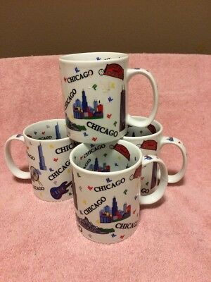 (4)   Chicago--Coffee Mugs / Cups--Wrigley Field--Illinois---Free Ship--New