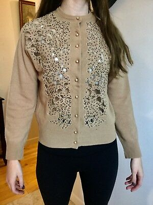 Sweet Vtg 50S Pinup Sand Colour Sweater Cut Out Beaded See Through Design Sm