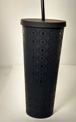 Starbucks Black Matte Star Pattern Cold Cup Tumbler 24 oz Acrylic with Straw Lid