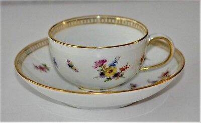 Antique Meissen Porcelain Cup and Saucer Scattered Flowers butterflies 19th c