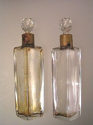 Antique Art Deco Crystal Perfume Scent Bottles Faceted Ball Stoppers Set of 2