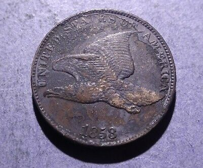 1858 Large Letters Flying Eagle Cent Ch. VF details
