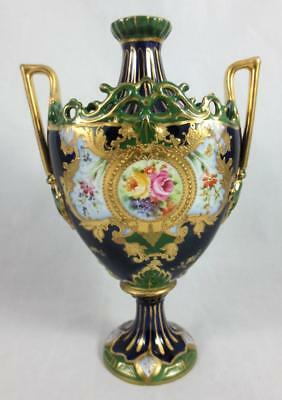 c1900 ROYAL RUDOLSTADT Germany HAND PAINTED SMALL URN Cobalt, Gold, Roses