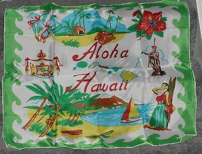 Vintage Scarf ALOHA HAWAII Hibiscus Hula Girl Bright Green Yellow Souvenir
