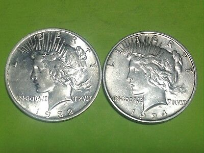 1924 & 1922 Peace Silver Dollars          1 - Lusterous & 1- Satiny    Must Look