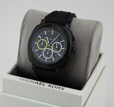 65f2e0d6718a New Authentic Michael Kors Bax Black Chronograph Silicone Men s Mk8554 Watch