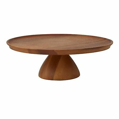 NEW DAVIS AND WADDELL ACACIA WOOD FOOTED CAKE STAND Platter Cupcake Stand