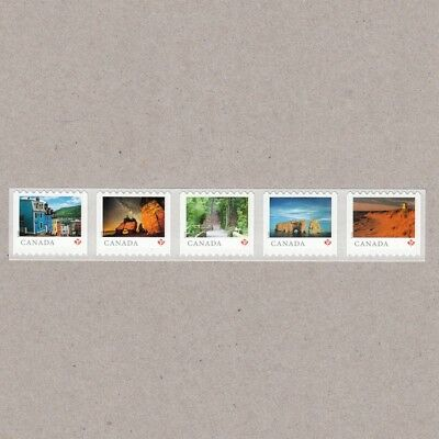 ma. LARGE Coil strip 5 stamps FROM FAR AND WIDE Great Destinations Canada 2018